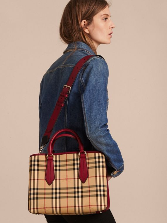 Leather Trim Horseferry Check Tote in Honey/parade Red - cell image 3