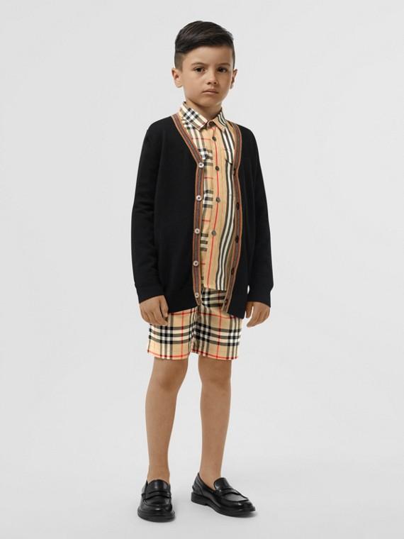 Rebeca en lana de merino con rayas Icon Stripe (Negro)