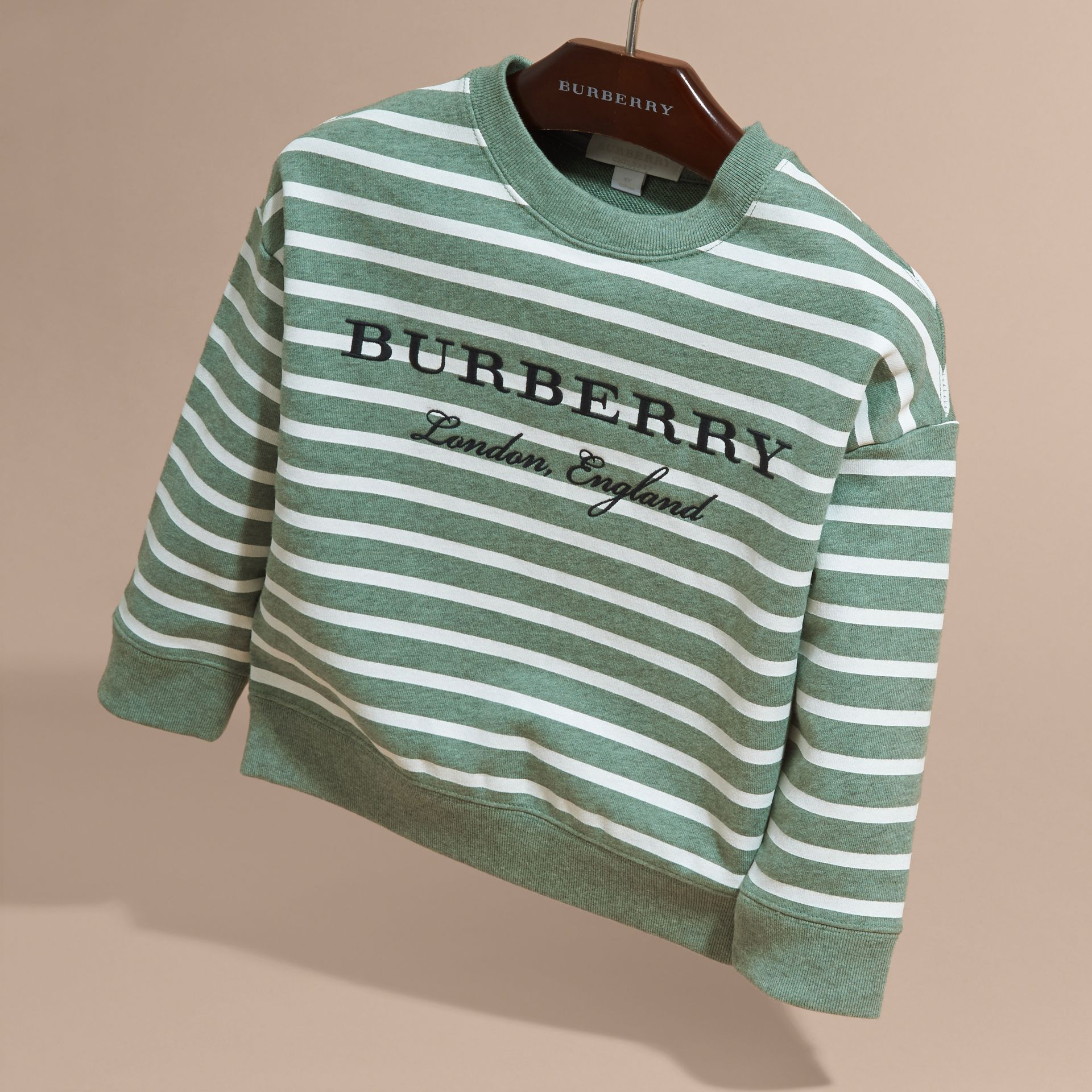 Striped Cotton Sweatshirt in Pale Opal Melange - Girl | Burberry - gallery image 3