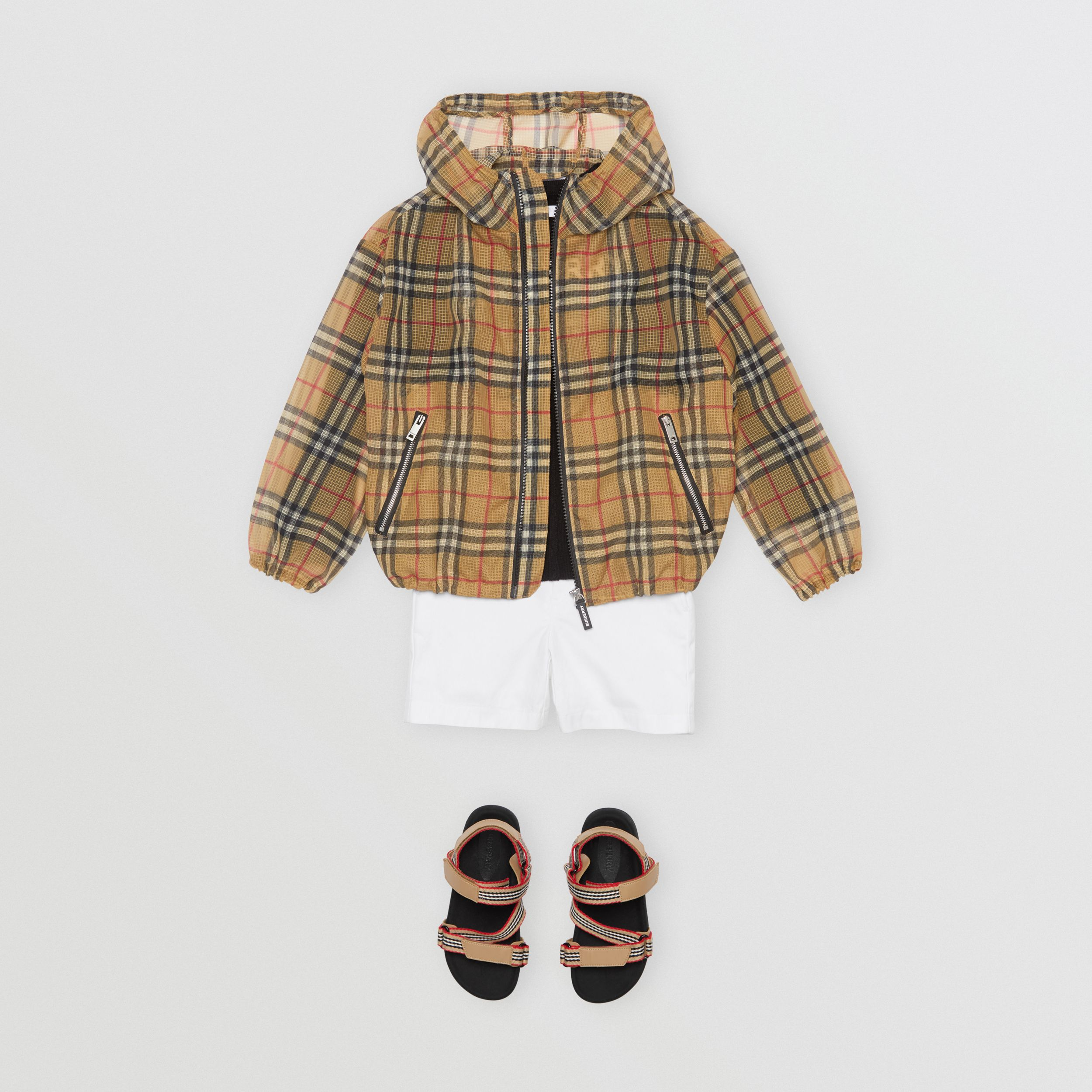 Lightweight Vintage Check Hooded Jacket in Antique Yellow | Burberry - 4