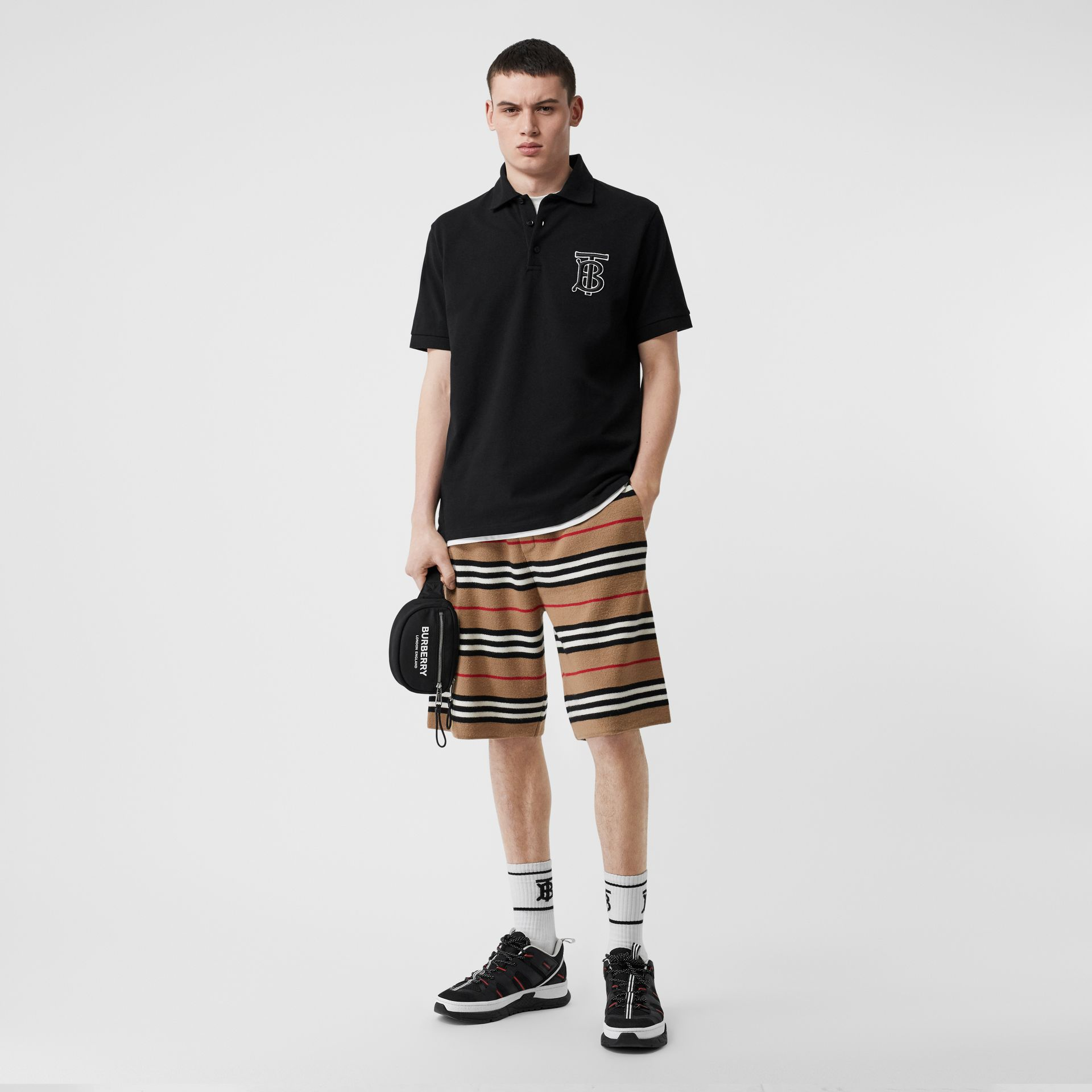 Monogram Motif Cotton Piqué Oversized Polo Shirt in Black | Burberry United States - gallery image 0