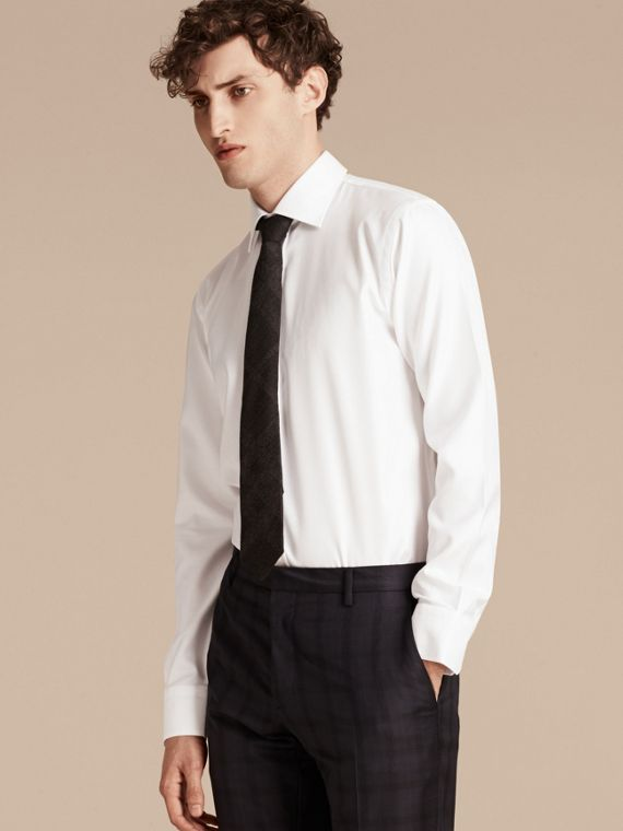 Modern Fit Cotton Twill Shirt White