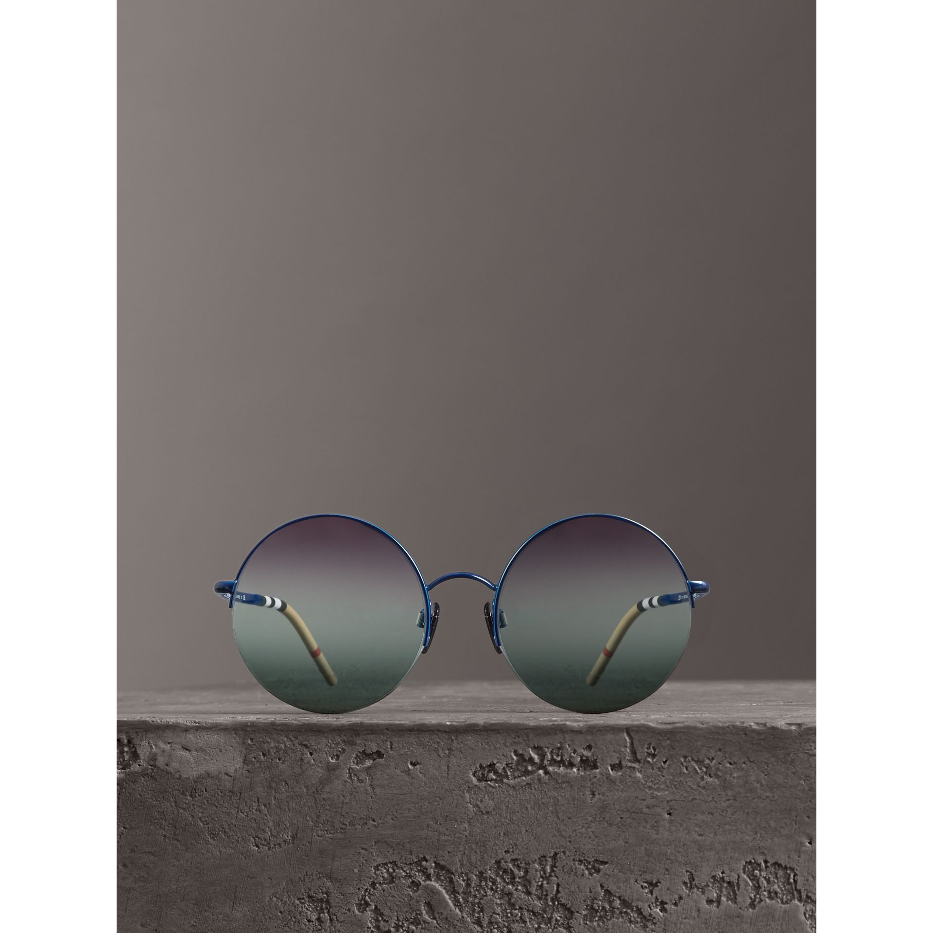 Check Detail Round Frame Sunglasses in Blue - Women | Burberry Canada - gallery image 3
