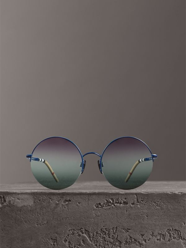 Check Detail Round Frame Sunglasses in Blue - Women | Burberry Canada - cell image 3