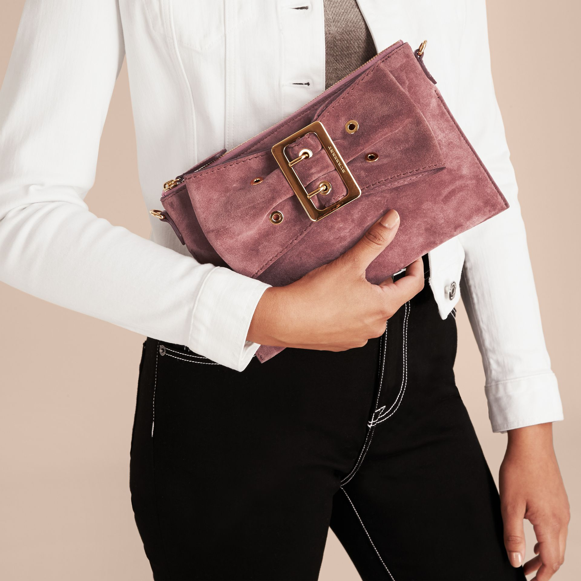 Suede Clutch Bag with Buckled Bow Detail Dusty Pink - gallery image 4