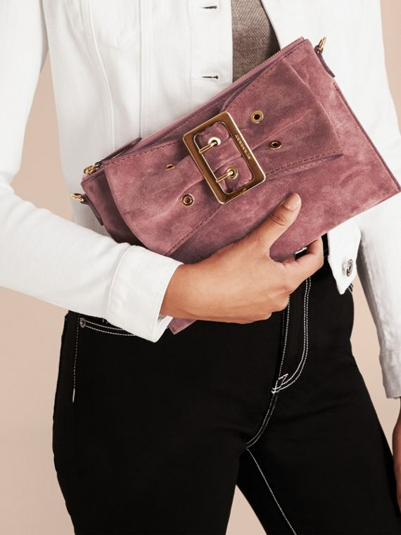 Dusty pink Suede Clutch Bag with Buckled Bow Detail Dusty Pink - cell image 3
