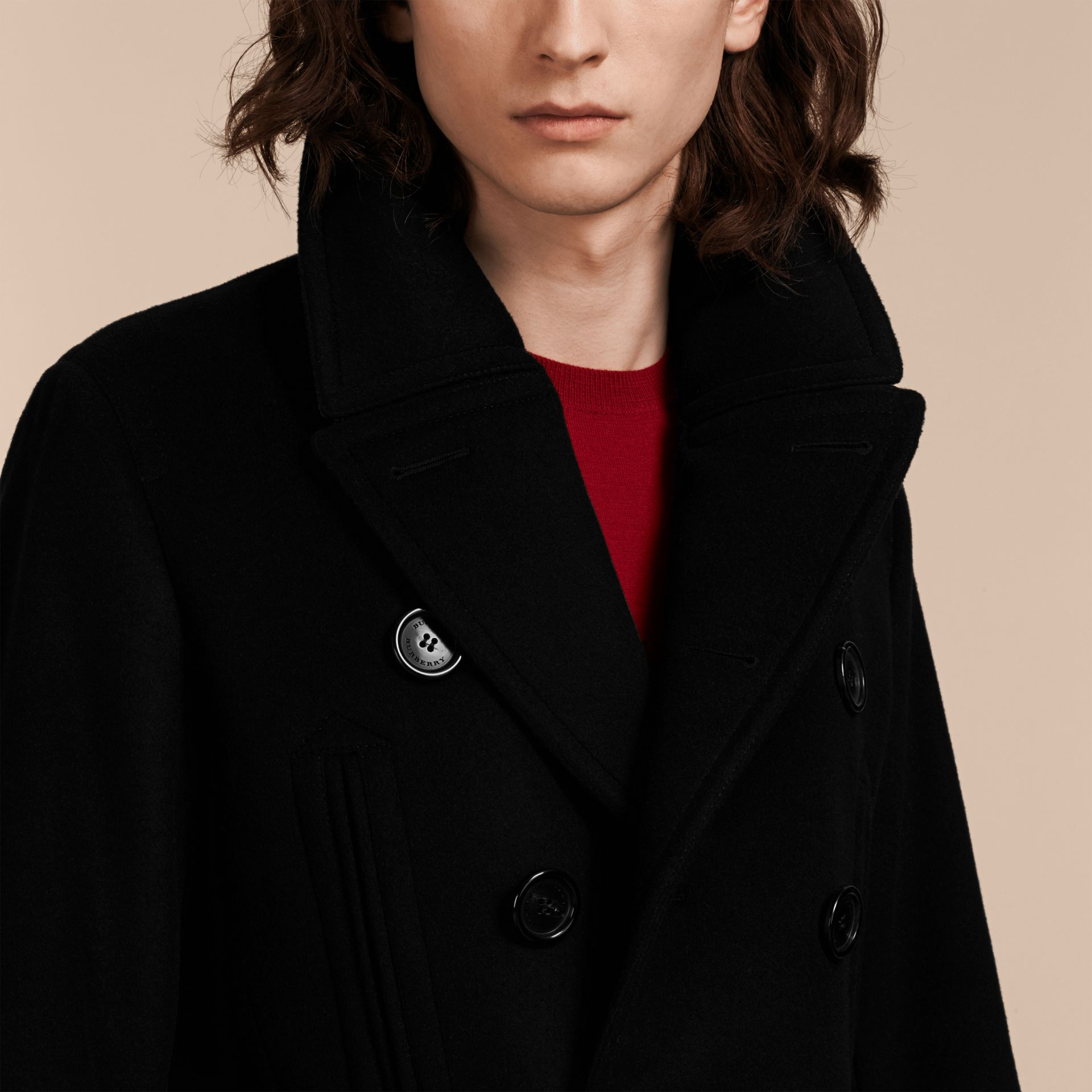 Black Wool Cashmere Pea Coat Black - gallery image 6