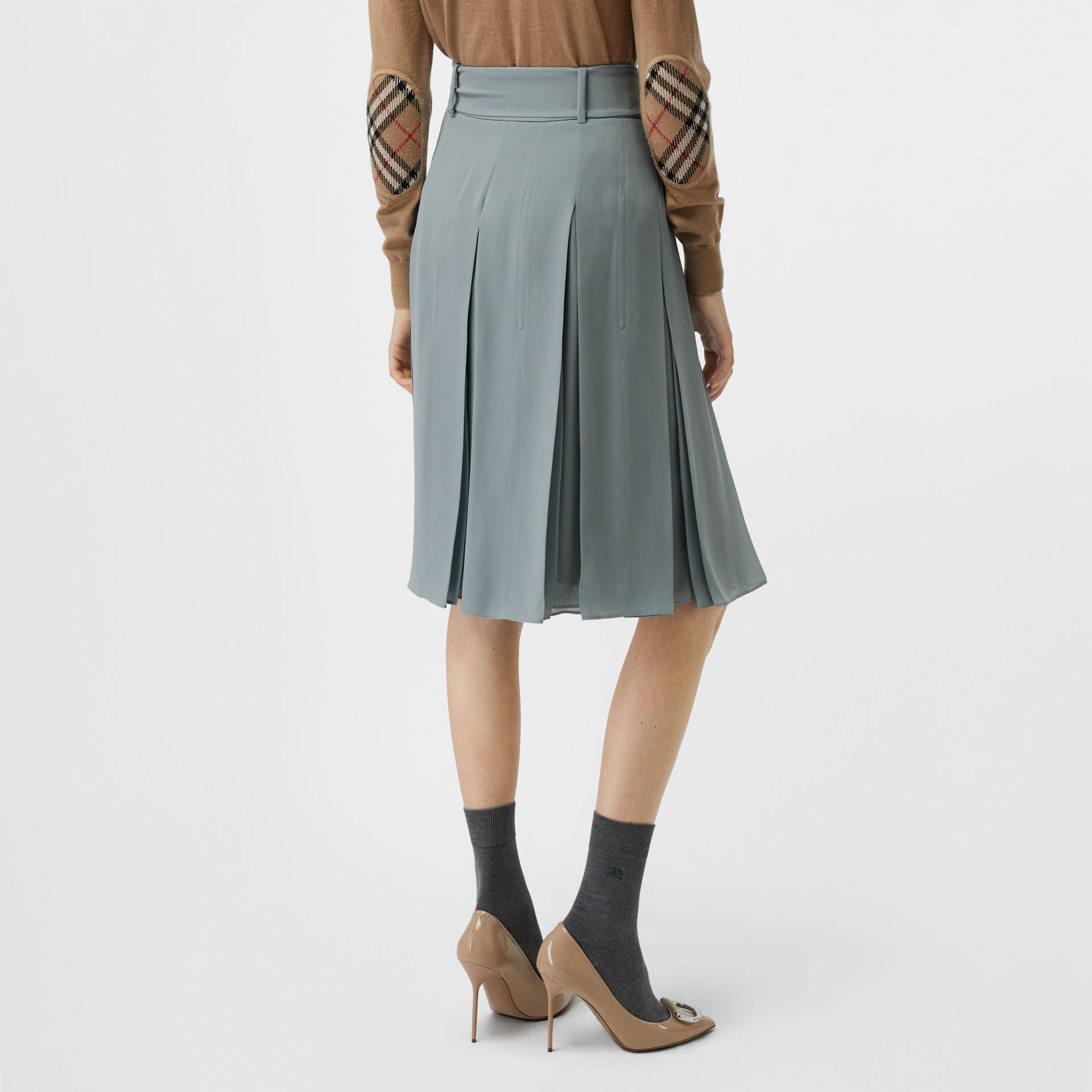 Tie-waist Pleated Georgette Skirt in Dusty Blue - Women | Burberry United Kingdom - gallery image 2