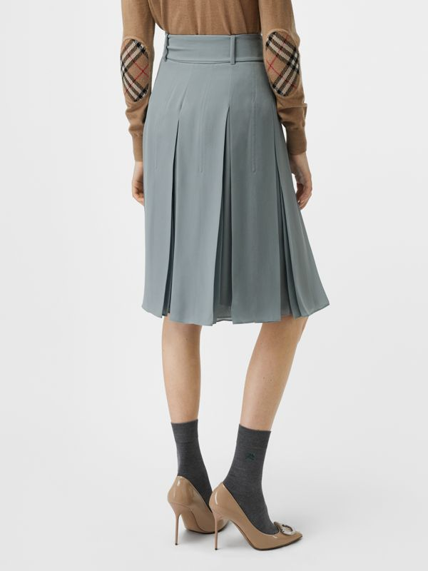 Tie-waist Pleated Georgette Skirt in Dusty Blue - Women | Burberry United Kingdom - cell image 2
