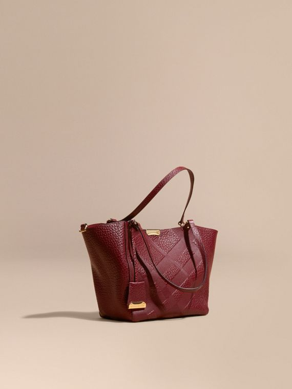 The Small Canter in Embossed Check Leather Deep Red
