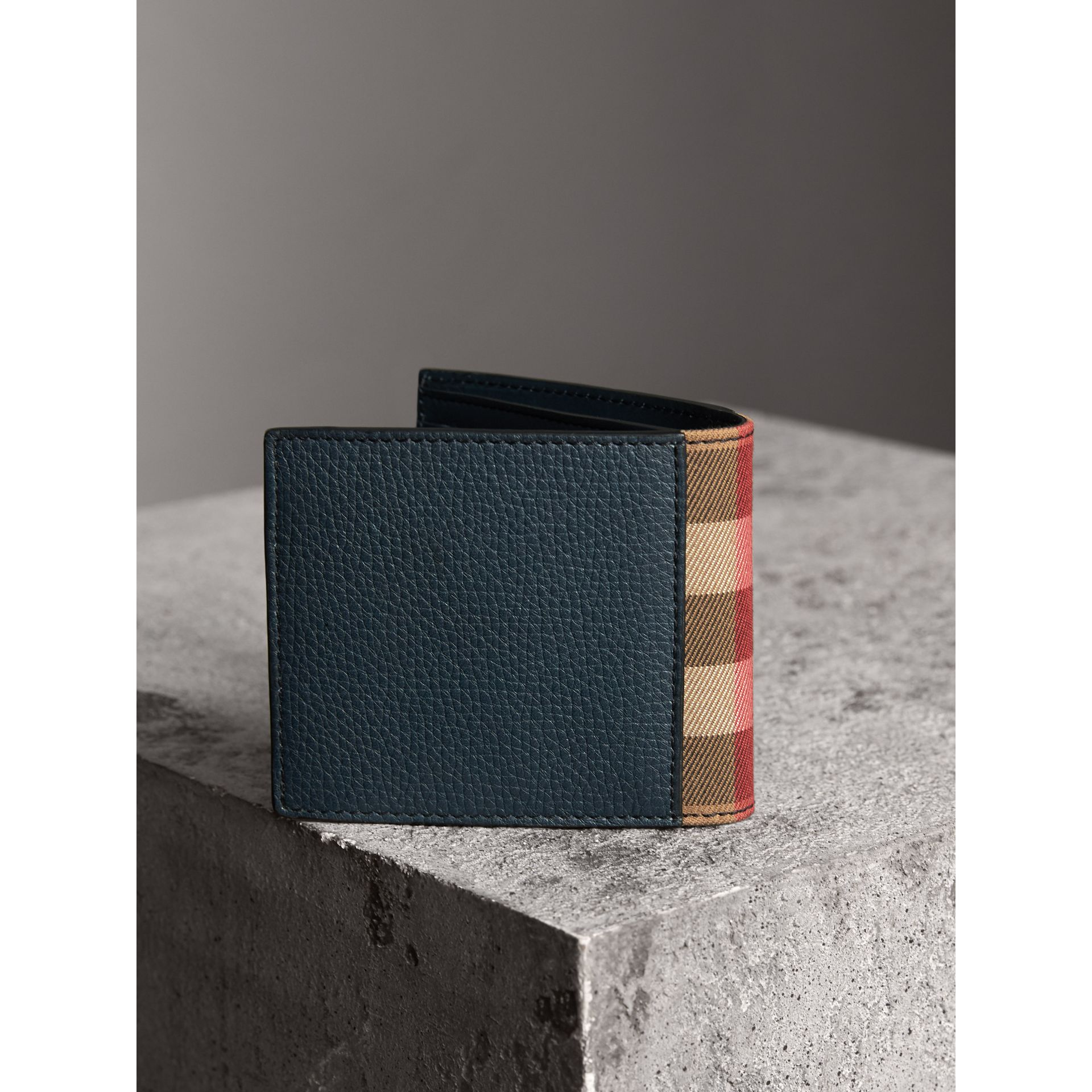 Leather and House Check International Bifold Wallet in Storm Blue | Burberry - gallery image 2