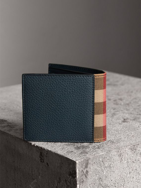 Leather and House Check International Bifold Wallet in Storm Blue | Burberry - cell image 2