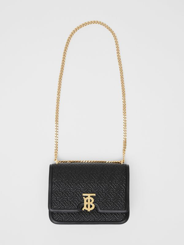 Medium Quilted Monogram Lambskin TB Bag in Black - Women | Burberry - cell image 3