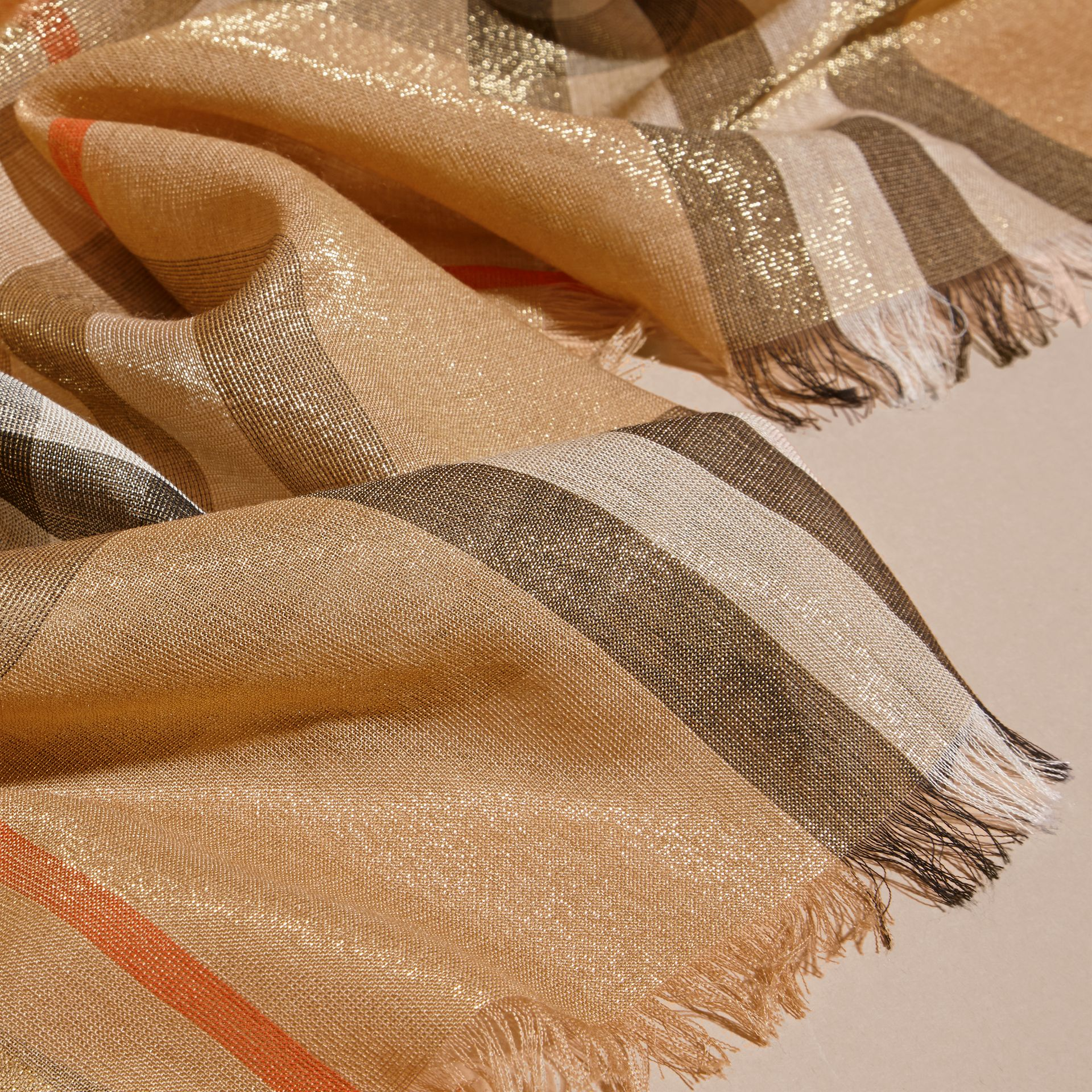 Metallic Check Silk and Wool Scarf Camel/gold - gallery image 3
