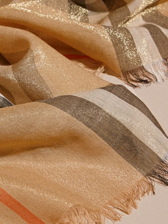 Metallic Check Silk and Wool Scarf in Camel/gold - cell image 2