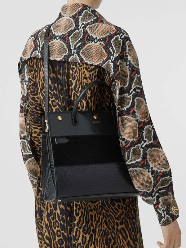 Sac Title moyen en cuir de cerf et cuir velours (Noir) - Femme | Burberry Canada - cell image 2