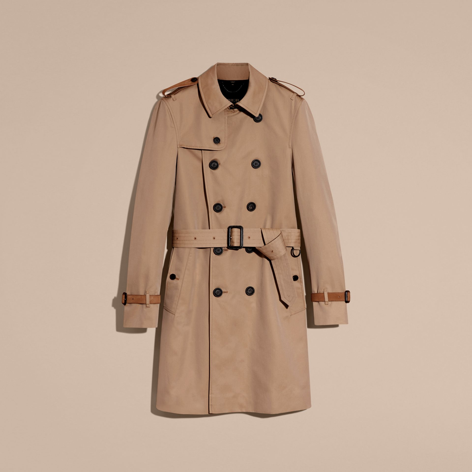 Honey Leather-trimmed Cotton Trench Coat - gallery image 4
