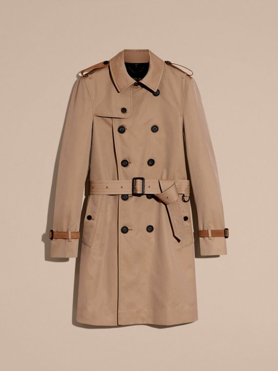 Honey Leather-trimmed Cotton Trench Coat - cell image 3