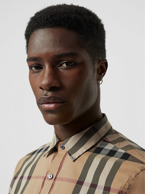 Short-sleeved Check Stretch Cotton Shirt in Camel - Men | Burberry Australia - cell image 1