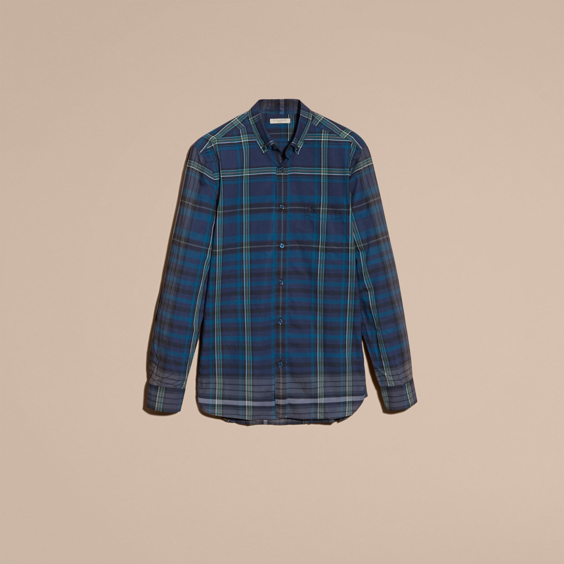 Indigo Button-down Collar Check Cotton Shirt Indigo - gallery image 4