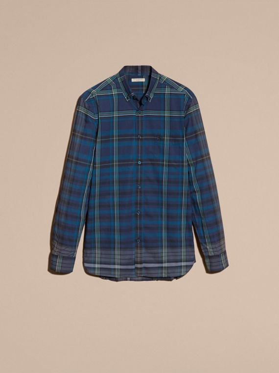 Indaco Camicia in cotone con motivo tartan e colletto button-down Indaco - cell image 3