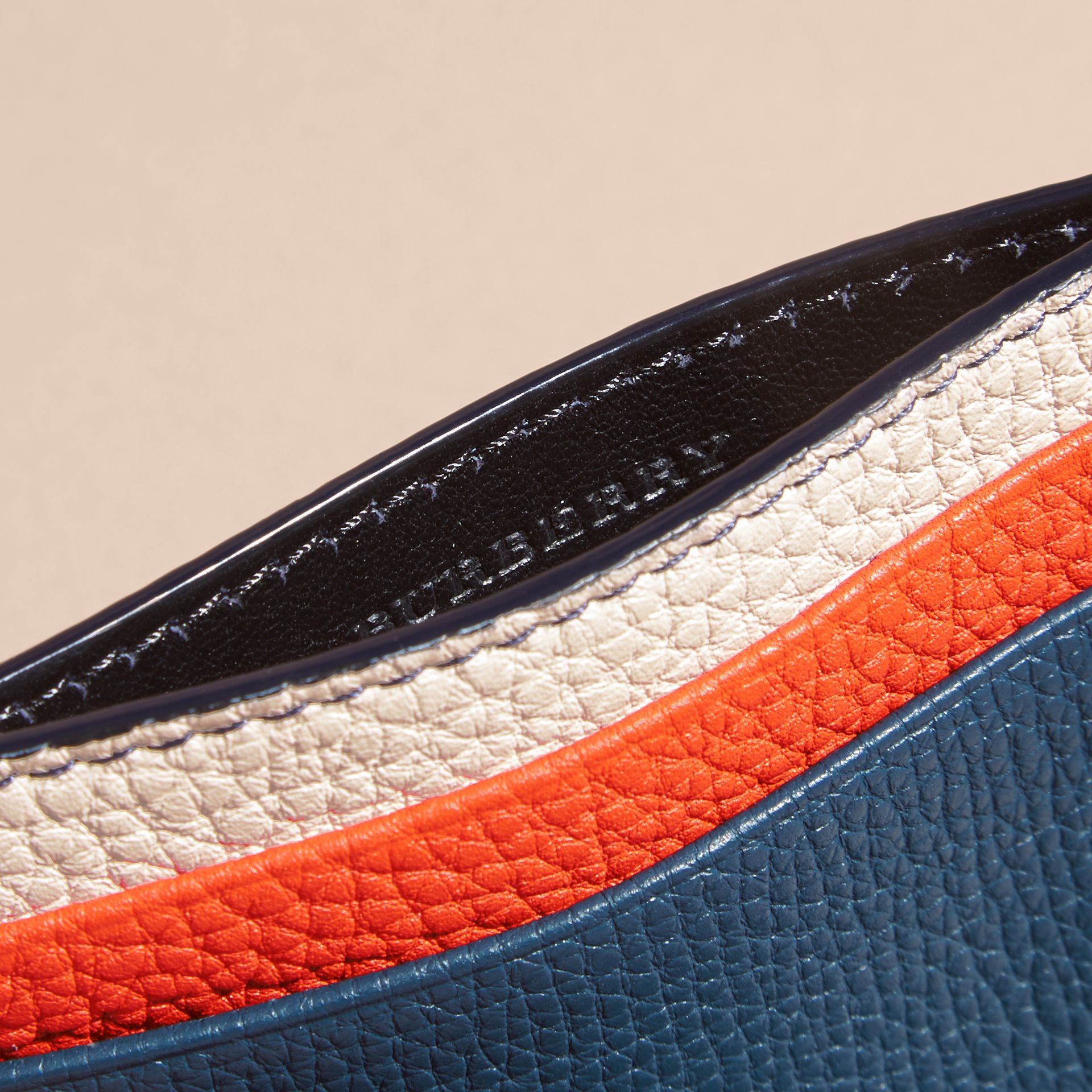 Colour Block Leather Card Case Marine Blue - gallery image 6