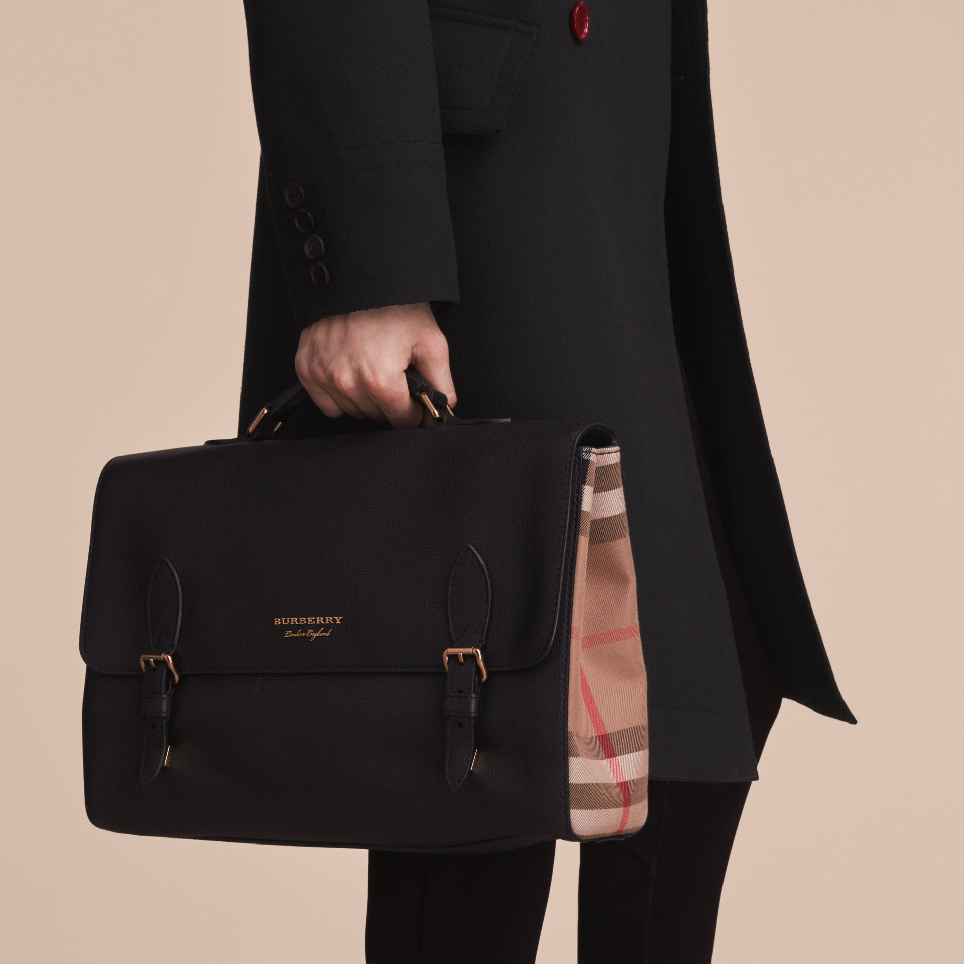 Leather and House Check Satchel in Black - Men | Burberry - gallery image 4