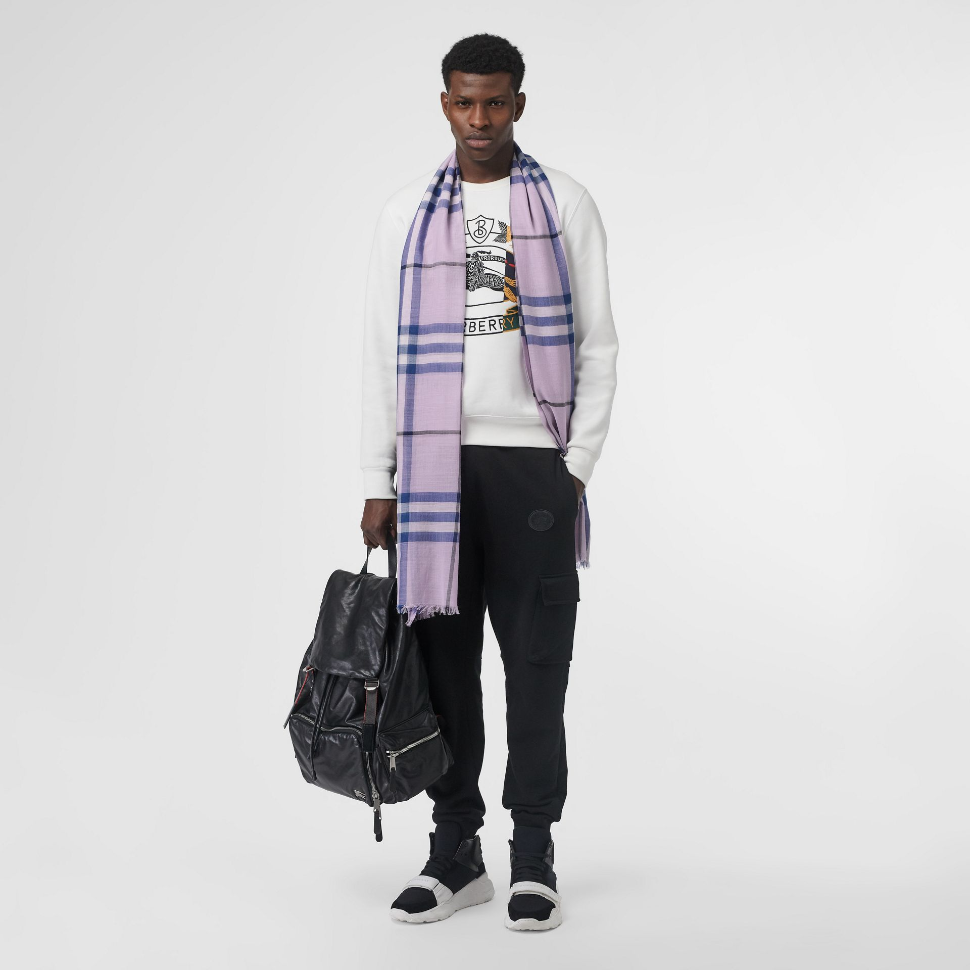 Lightweight Check Wool and Silk Scarf in Pale Orchid | Burberry Canada - gallery image 6