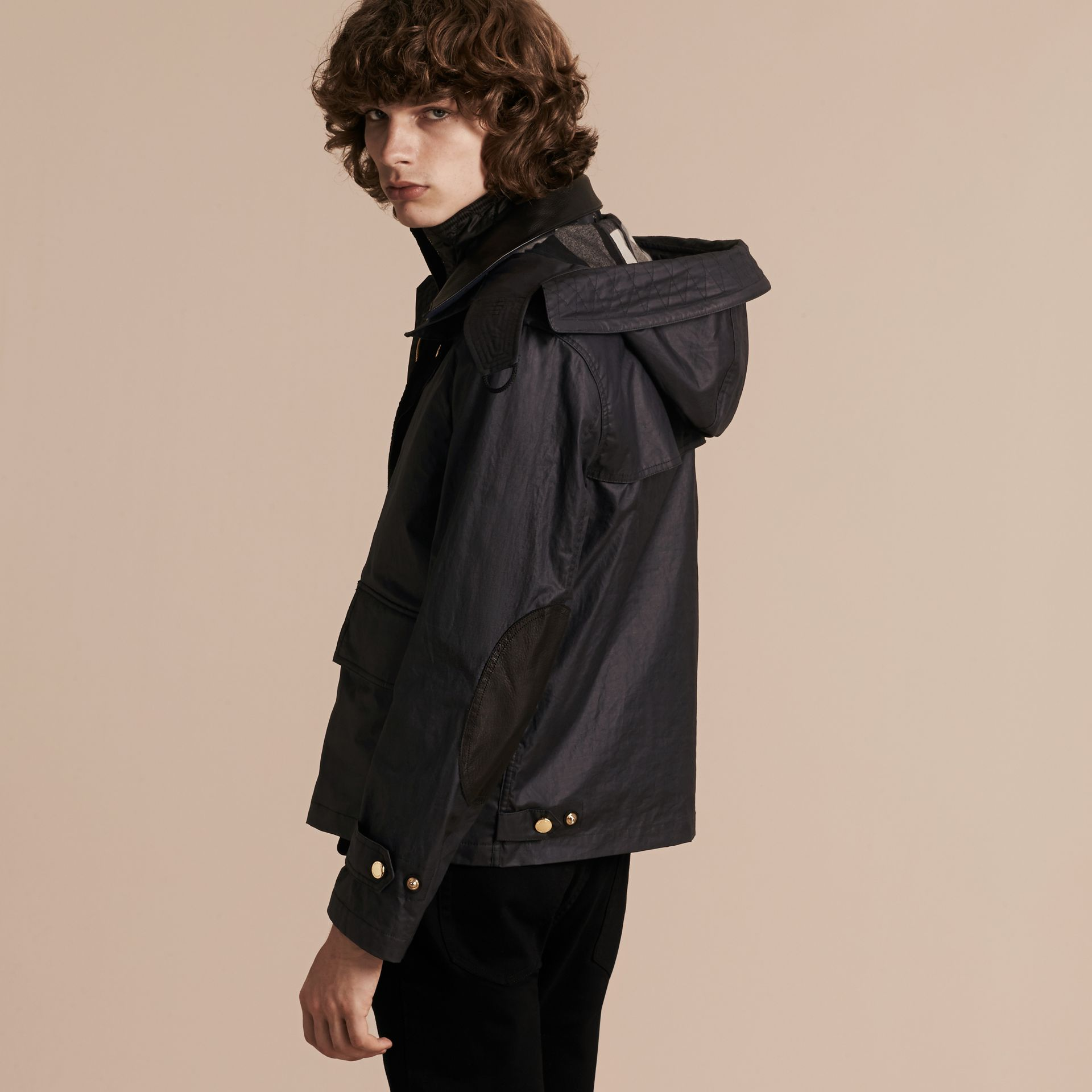Dark navy Hooded Waxed Cotton Linen Jacket with Detachable Warmer - gallery image 3