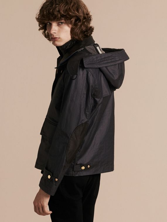Dark navy Hooded Waxed Cotton Linen Jacket with Detachable Warmer - cell image 2