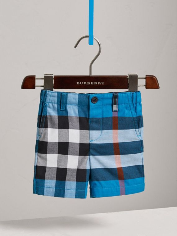 Check Cotton Chino Shorts in Azure Blue