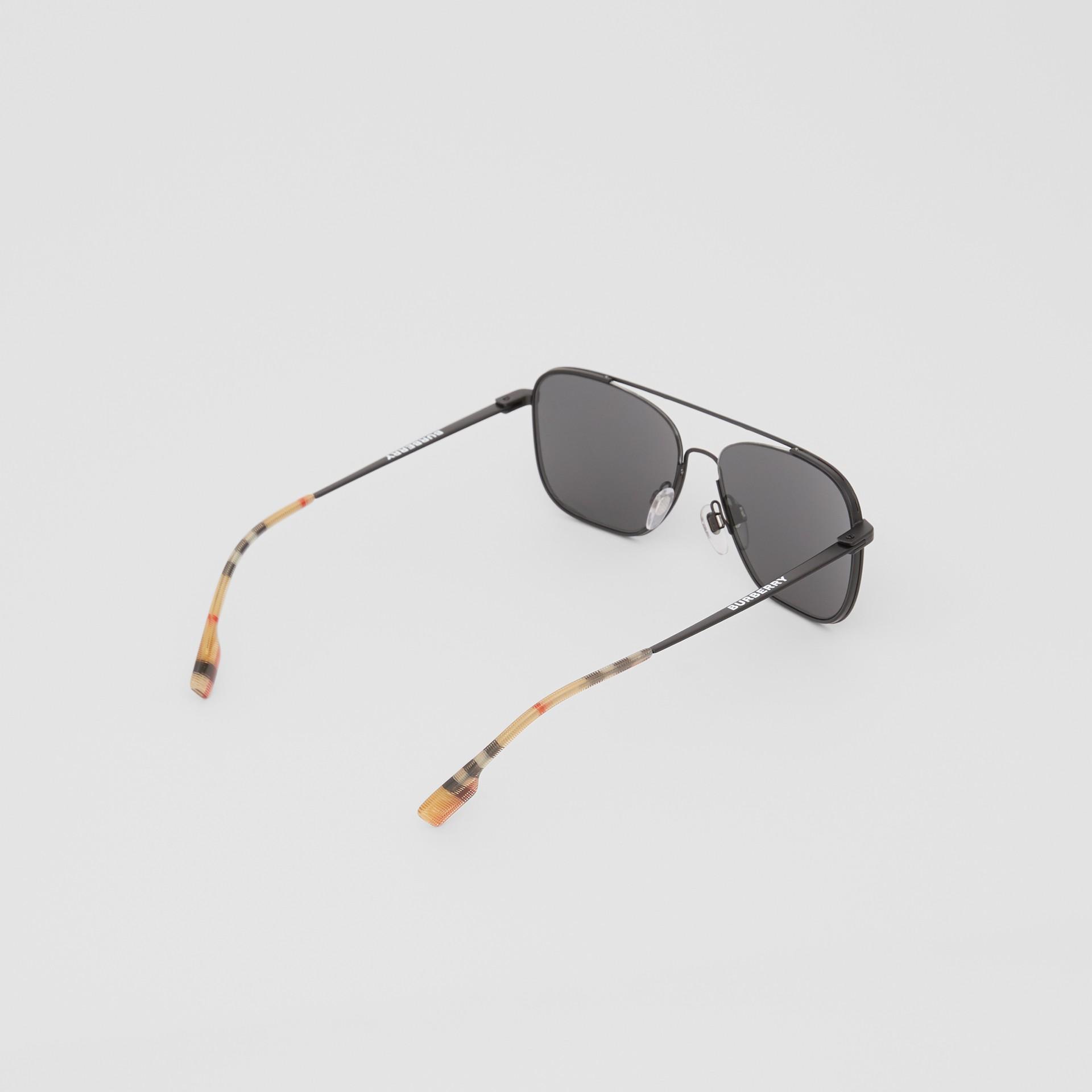 Top Bar Detail Square Frame Sunglasses in Matte Black - Men | Burberry Canada - gallery image 3