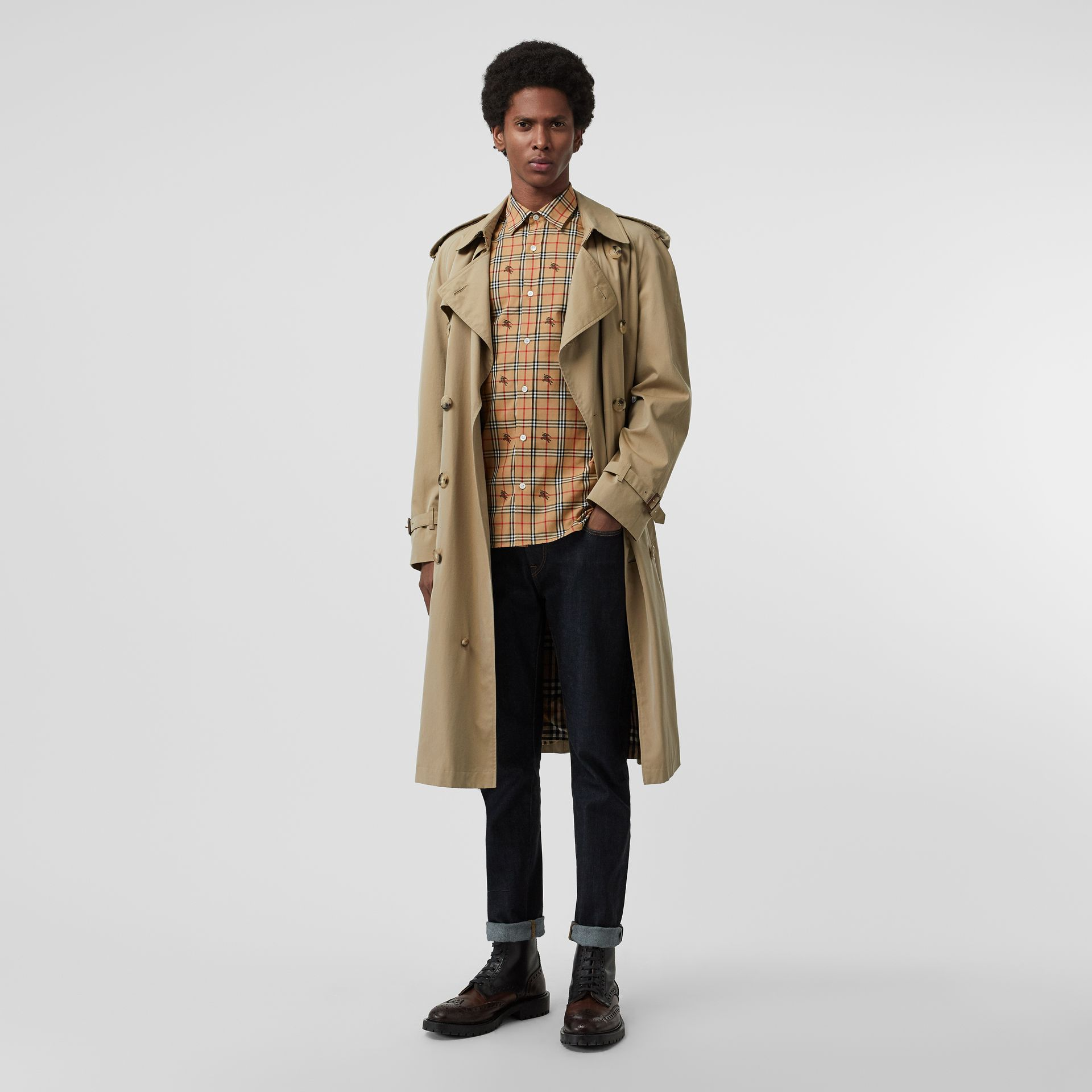 Equestrian Knight Check Cotton Shirt in Camel - Men | Burberry - gallery image 4