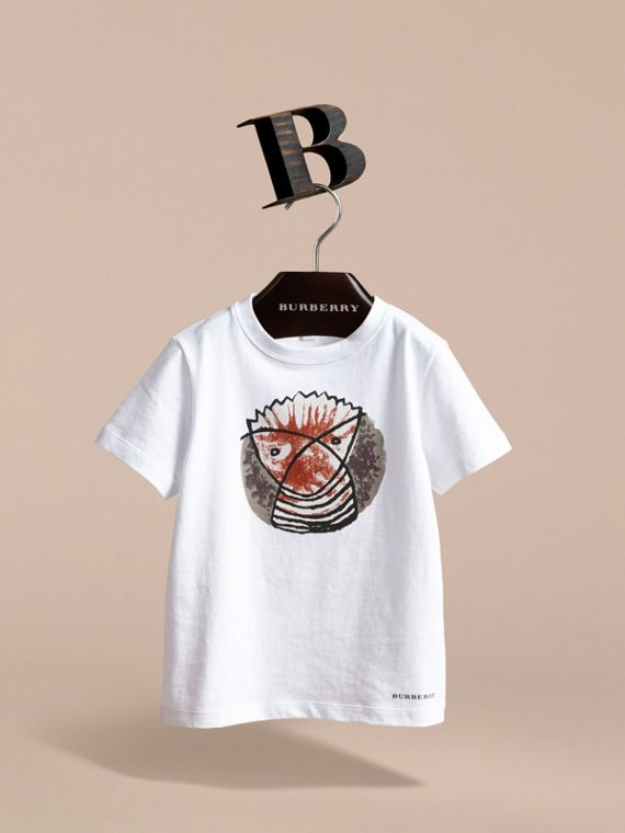 Pallas Heads Print Cotton T-shirt in White | Burberry - cell image 2