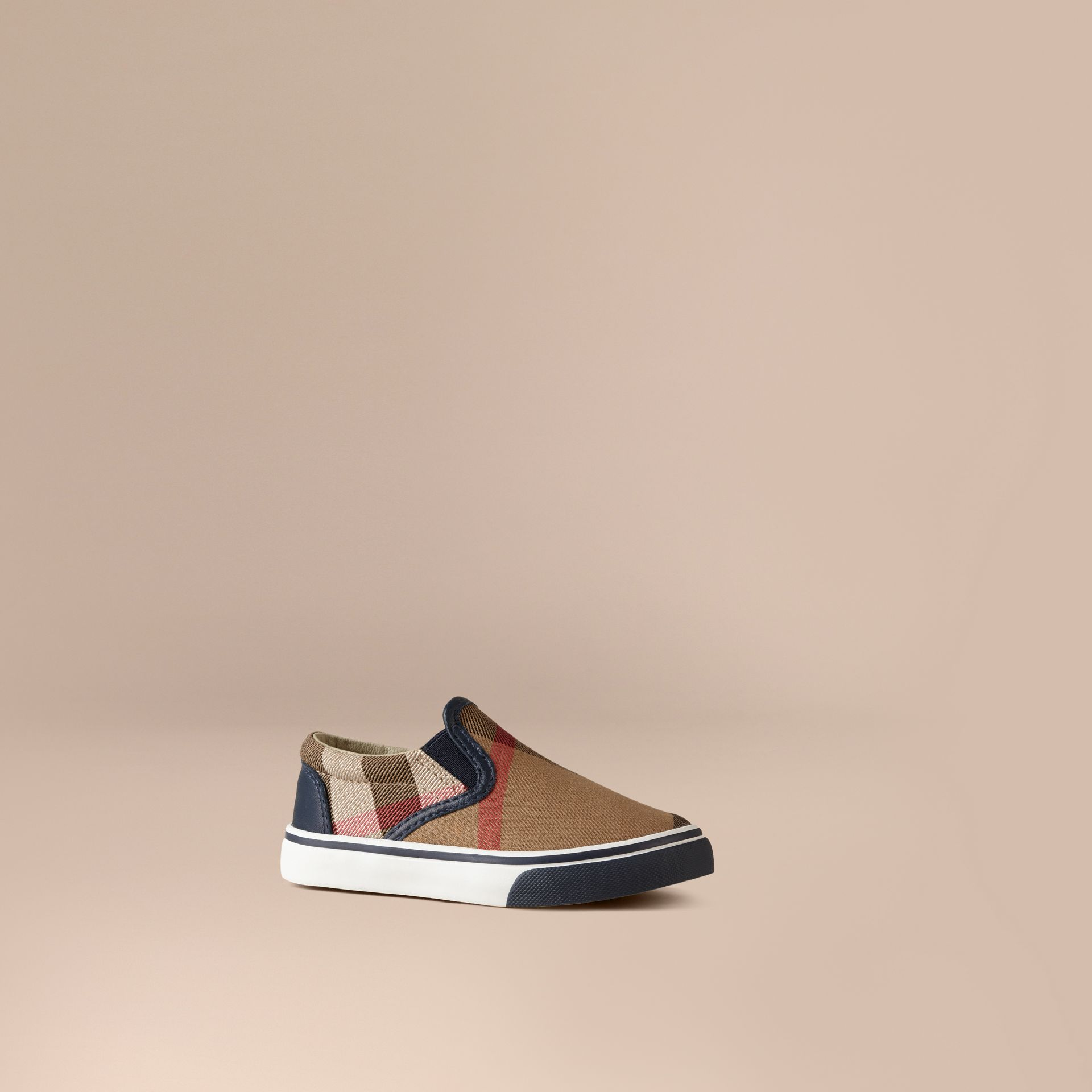 House Check Cotton Slip-On Trainers in Navy | Burberry Canada - gallery image 1