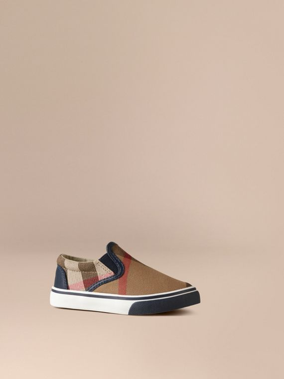 House Check Cotton Slip-On Trainers in Navy | Burberry Canada