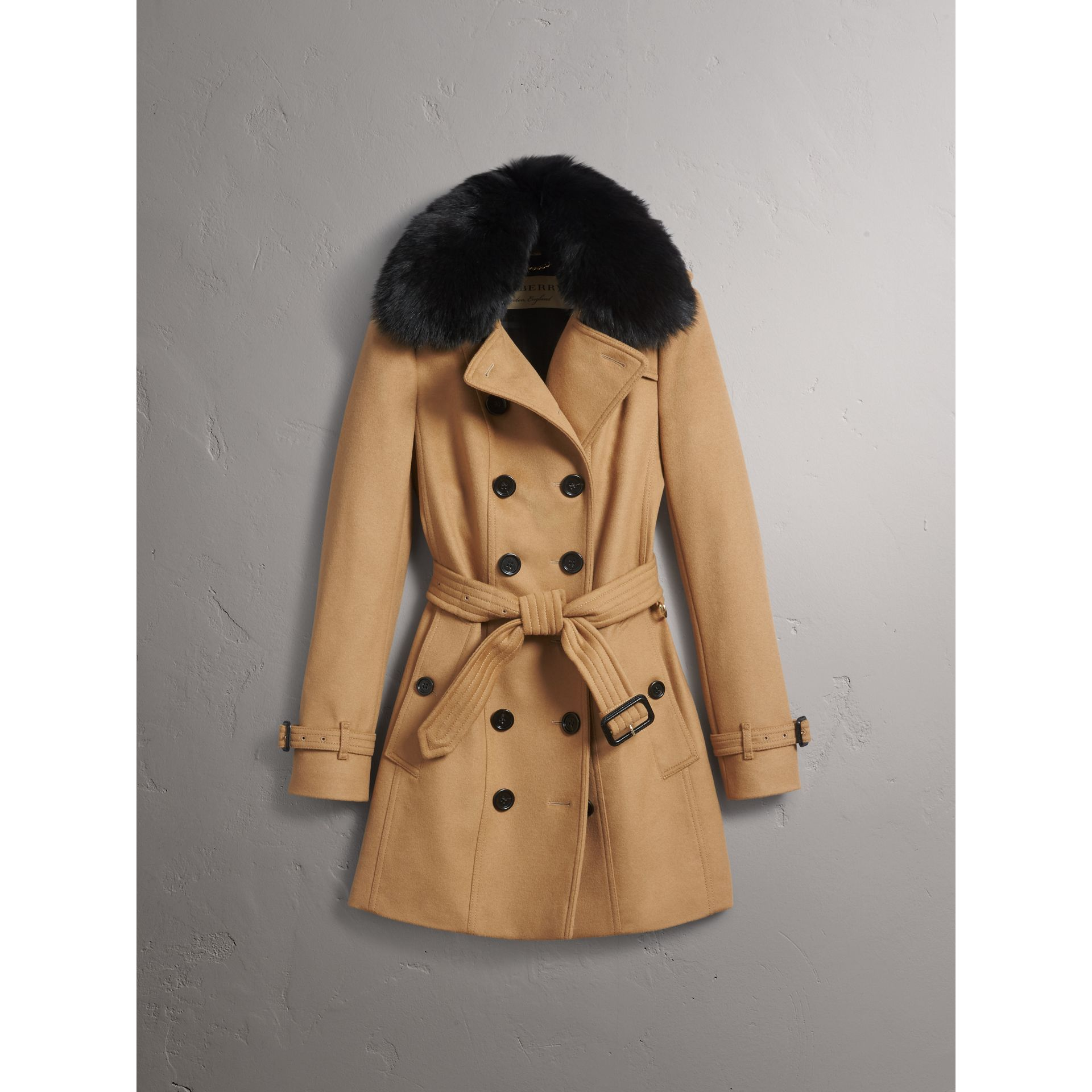 Wool Cashmere Trench Coat with Fur Collar in Camel - Women | Burberry