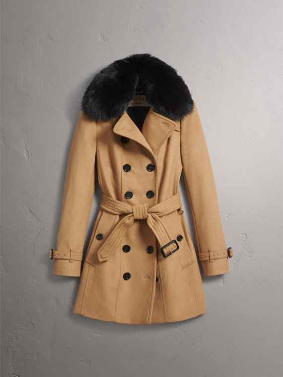 Wool Cashmere Trench Coat with Fur Collar in Camel - Women | Burberry United Kingdom - cell image 3