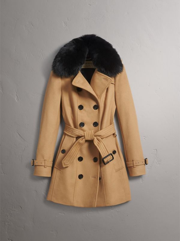 Wool Cashmere Trench Coat with Fur Collar in Camel - Women | Burberry - cell image 3