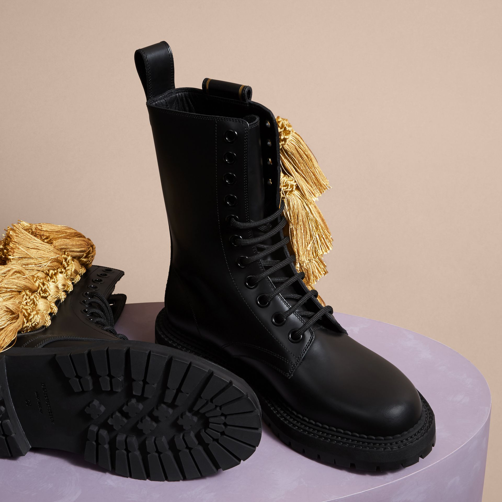 Black Tassel Detail Leather Army Boots - gallery image 5