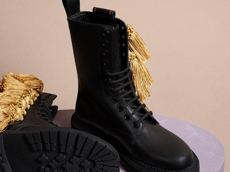 Black Tassel Detail Leather Army Boots - cell image 4