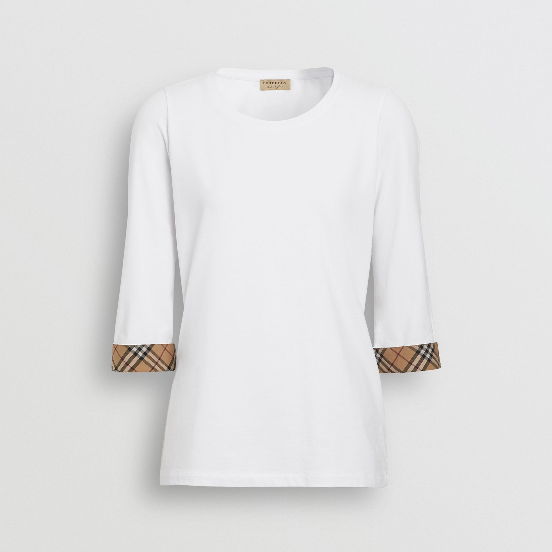 Check Detail Stretch Cotton Top in White - Women | Burberry - gallery image 3