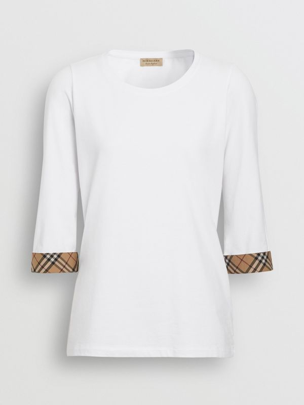 Check Detail Stretch Cotton Top in White - Women | Burberry - cell image 3