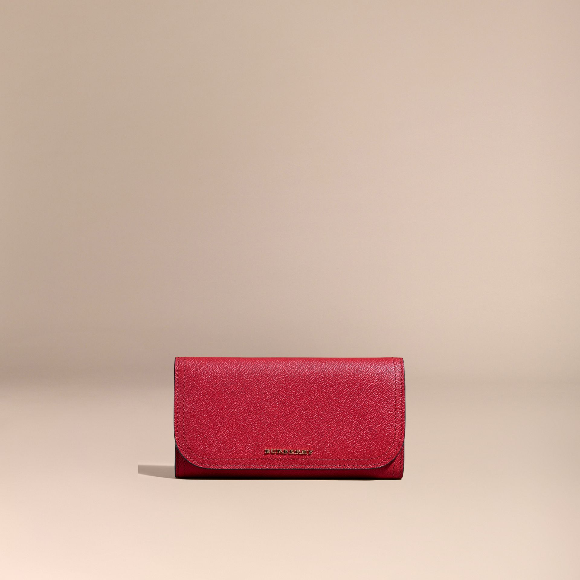 Leather Continental Wallet with Removable Coin Case in Parade Red - Women | Burberry - gallery image 7