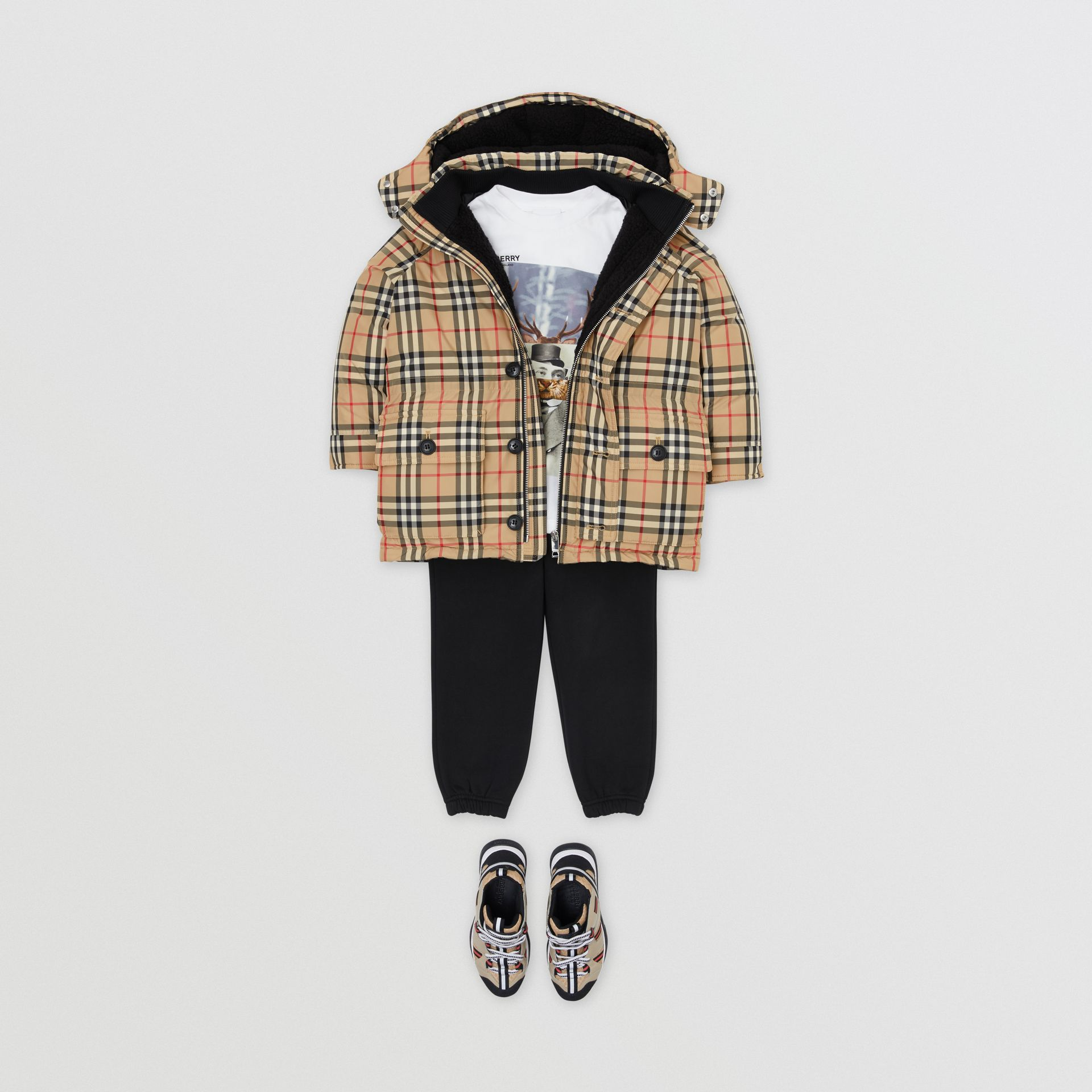 Vintage Check Down-filled Hooded Puffer Jacket in Archive Beige | Burberry - gallery image 3