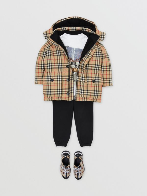Vintage Check Down-filled Hooded Puffer Jacket in Archive Beige | Burberry Singapore - cell image 3
