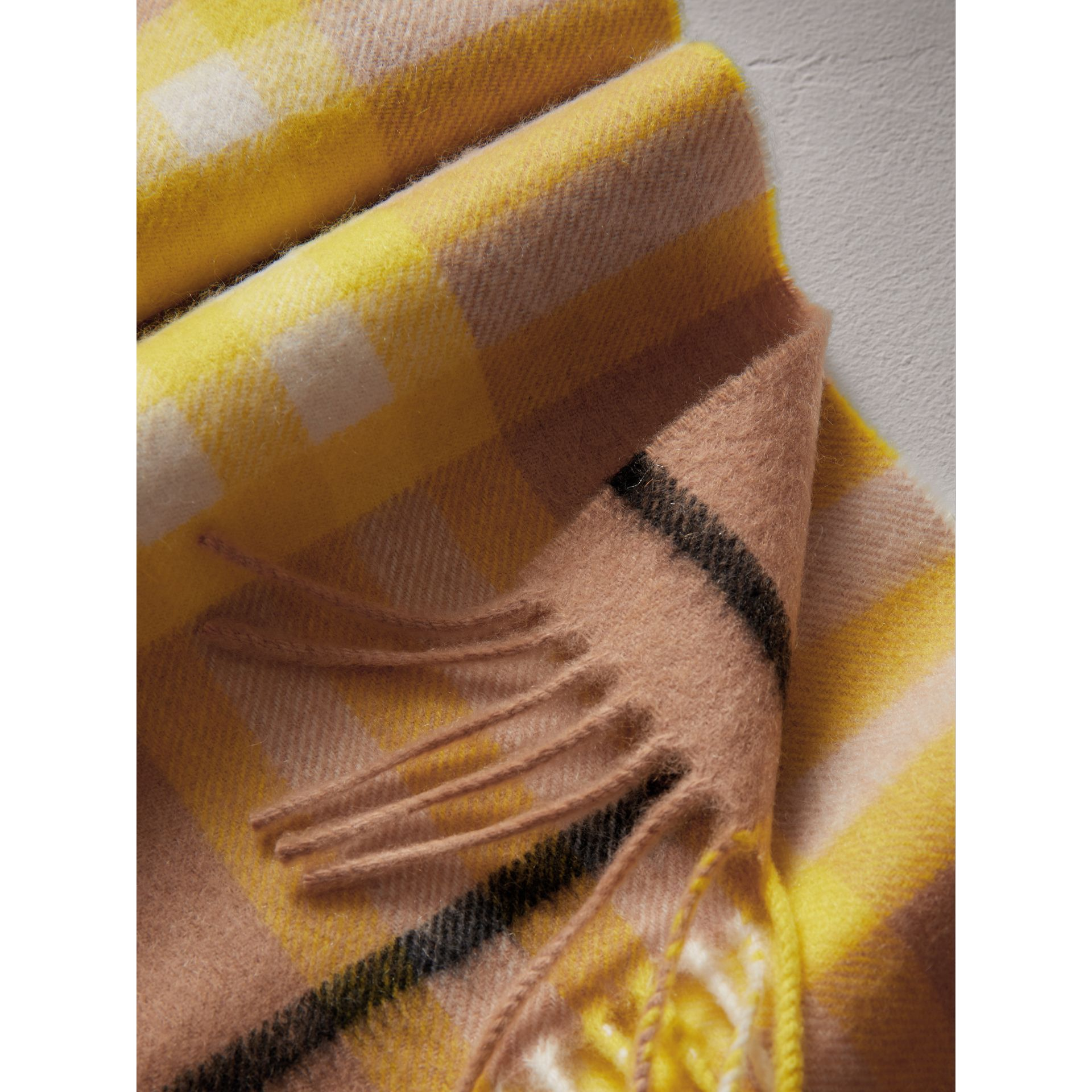 The Mini Classic Check Cashmere Scarf in Bright Lemon | Burberry Canada - gallery image 1