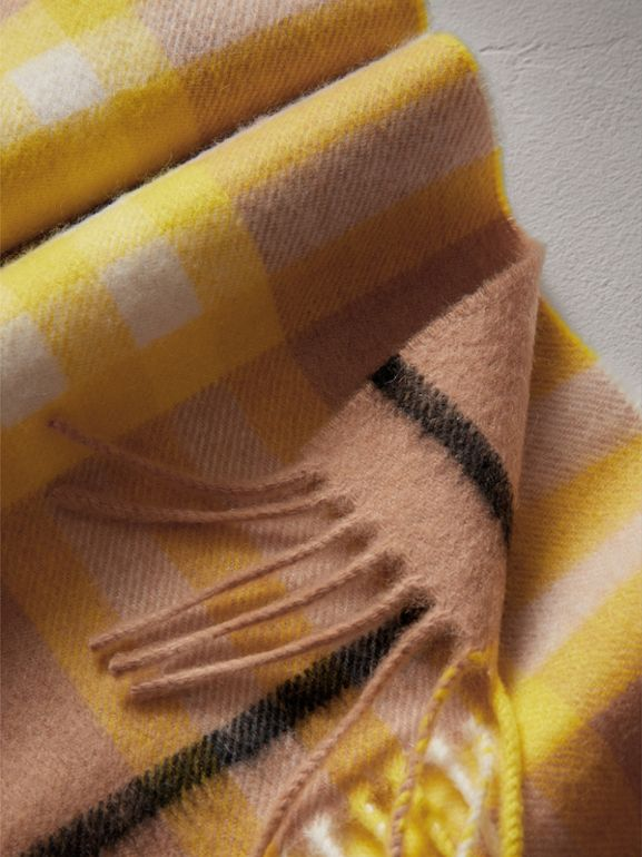 The Mini Classic Check Cashmere Scarf in Bright Lemon | Burberry - cell image 1