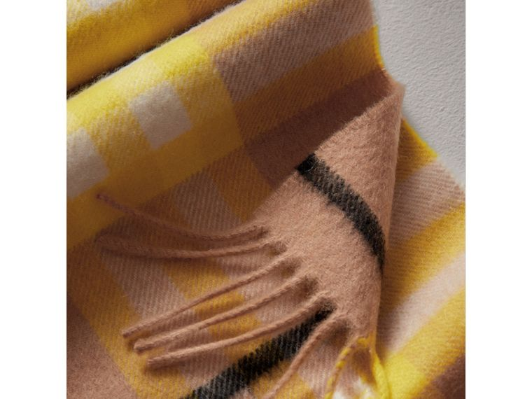 The Mini Classic Check Cashmere Scarf in Bright Lemon | Burberry Canada - cell image 1