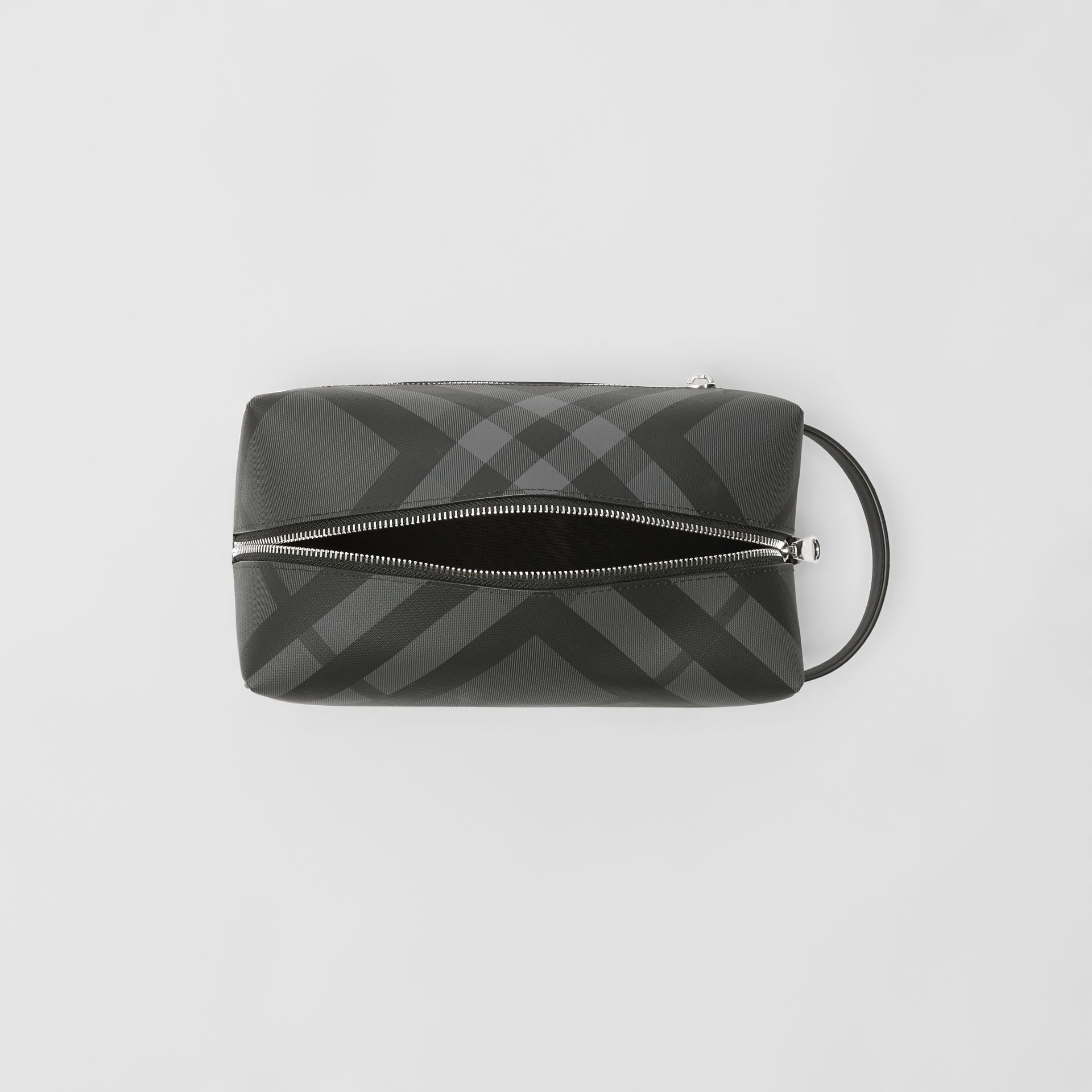 2864beccca58 EKD London Check and Leather Pouch in Charcoal black - Men ...